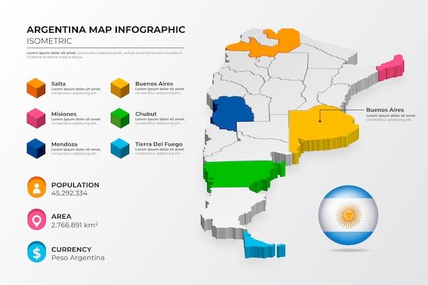 Infografía de mapa de argentina isométrica