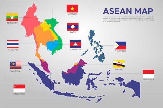 Infografía del mapa de la asean