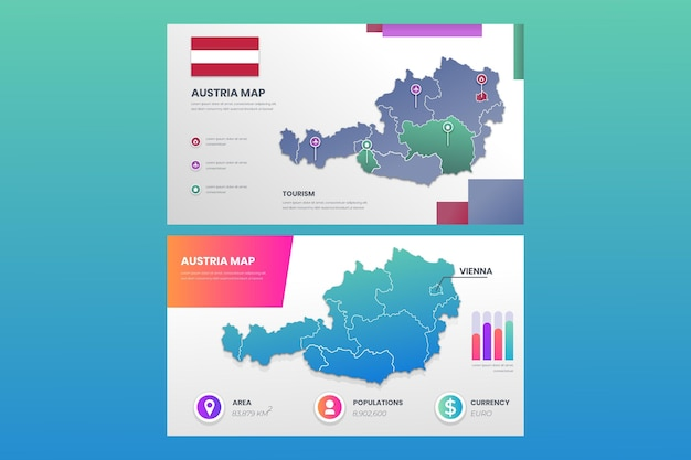 Infografía de mapa de austria degradado