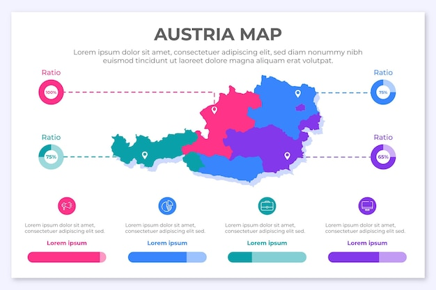 Infografía de mapa de austria en diseño plano