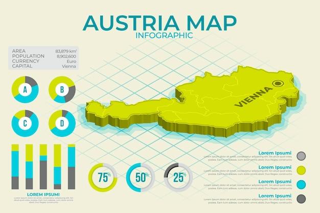 Infografía de mapa de austria isométrica