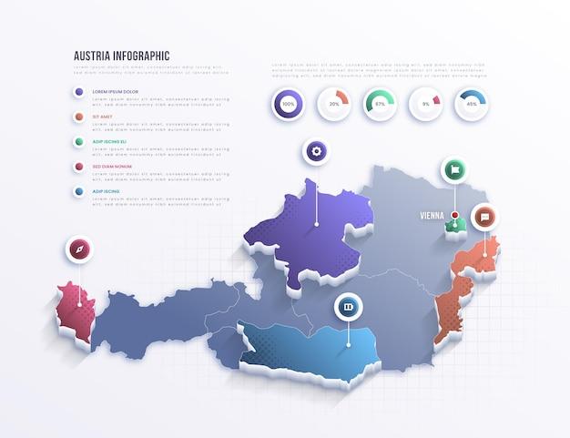 Infografía de mapa de austria