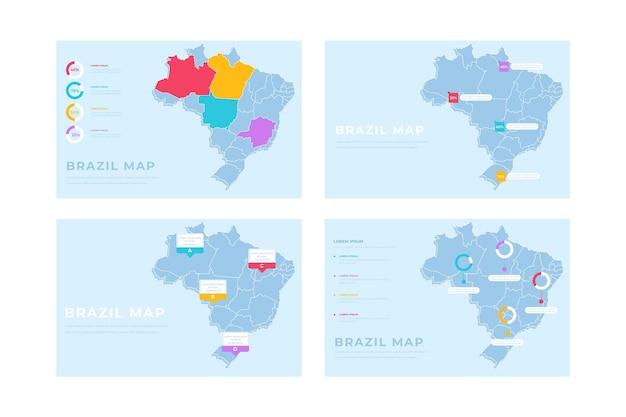 Infografía de mapa de brasil dibujado a mano
