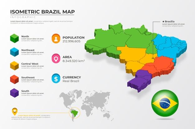 Infografía de mapa de brasil isométrica