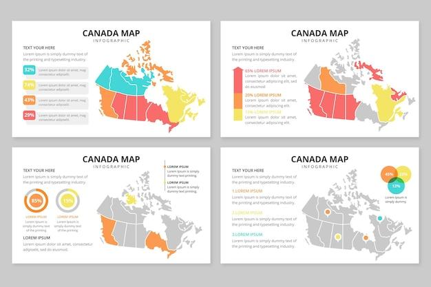 Infografía de mapa de canadá plana