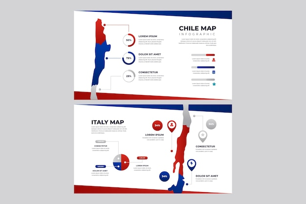 Infografía de mapa de chile degradado