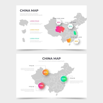 Infografía de mapa de china degradado