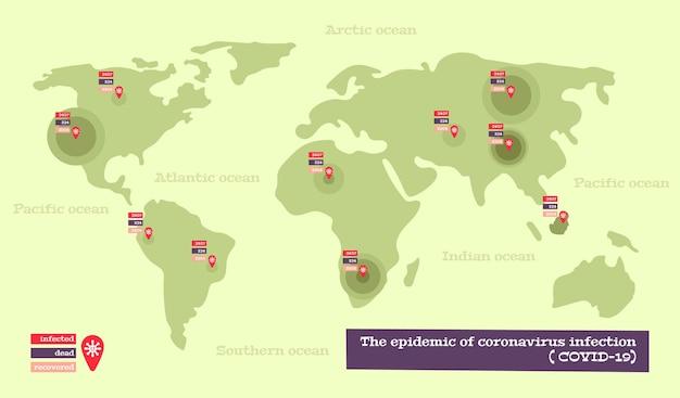 Infografía del mapa de coronavirus