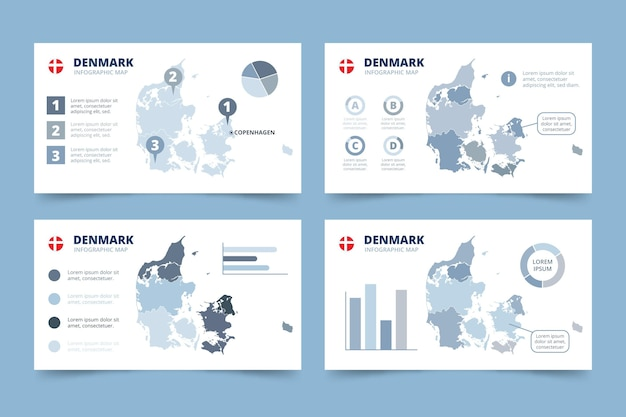 Infografía de mapa de dinamarca dibujado a mano