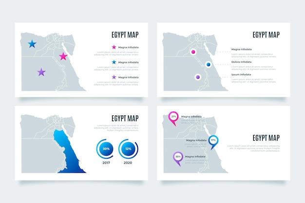 Infografía de mapa de egipto degradado