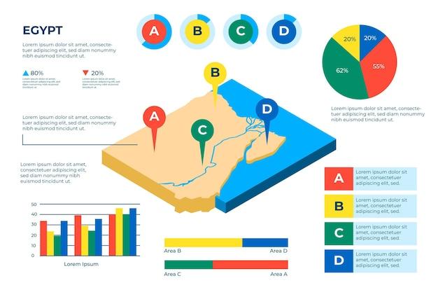 Infografía de mapa de egipto isométrica
