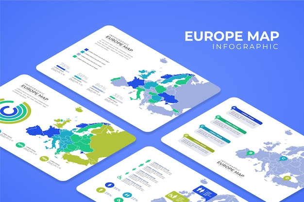 Infografía de mapa de europa isométrica