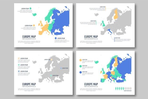 Infografía de mapa de europa plana