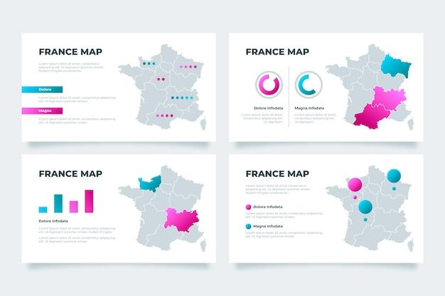 Infografía de mapa de francia degradado