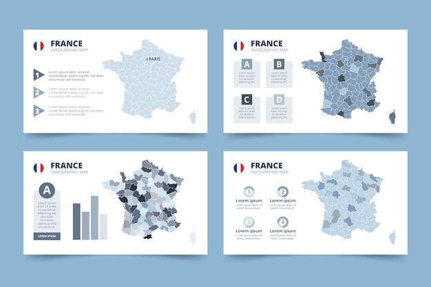 Infografía de mapa de francia dibujado a mano