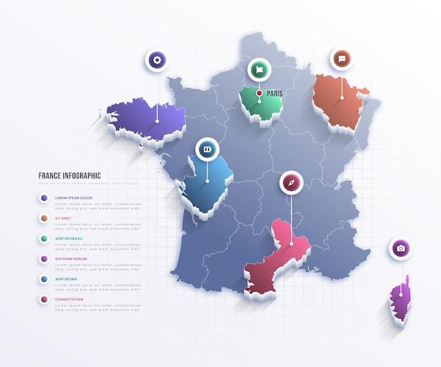 Infografía de mapa de francia
