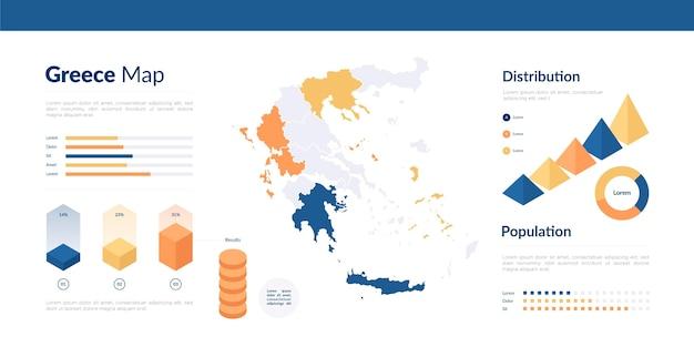 Infografía de mapa de grece isométrica