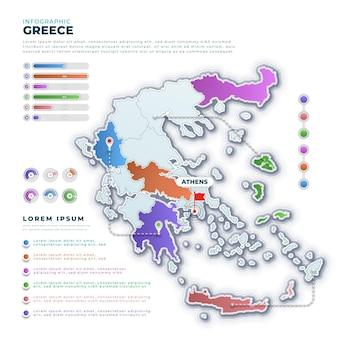 Infografía de mapa de grecia degradado