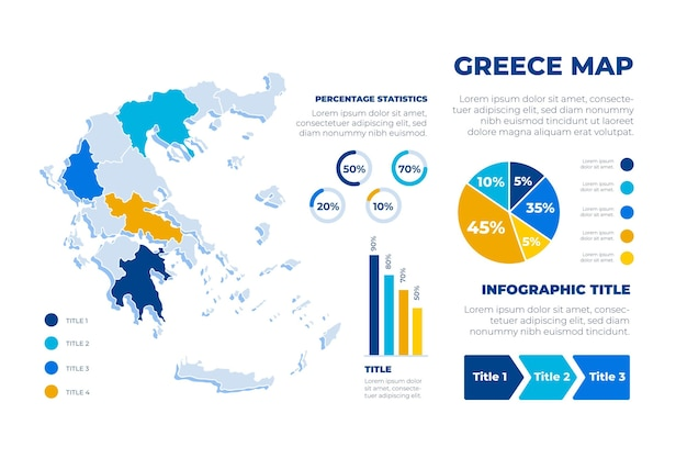 Infografía de mapa de grecia dibujado a mano