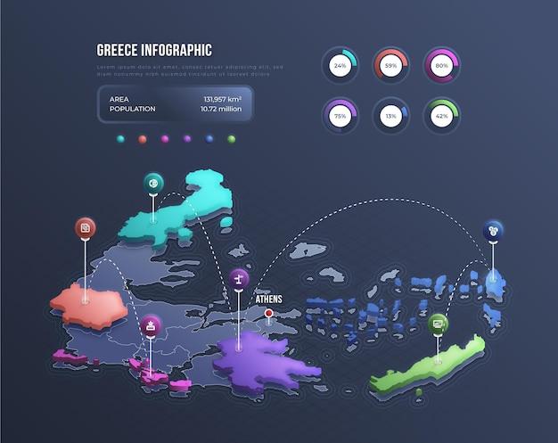 Infografía de mapa de grecia isométrica