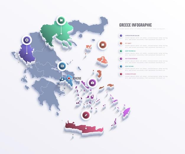 Infografía de mapa de grecia