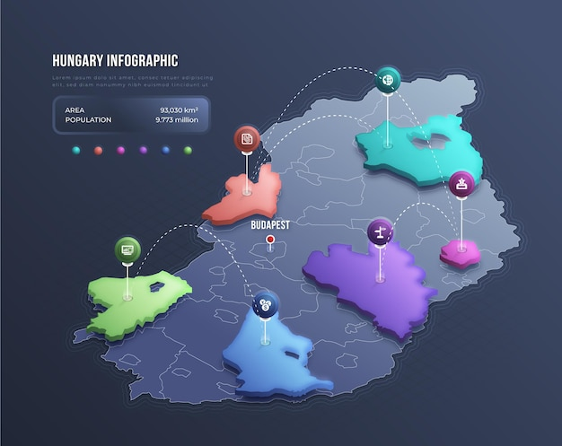 Infografía de mapa de hungría isométrica