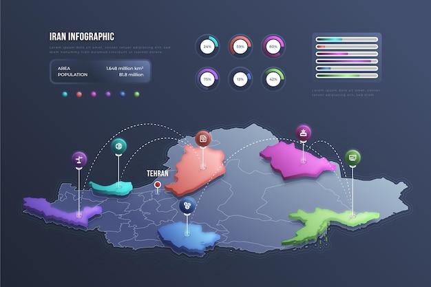 Infografía de mapa de irán isométrica