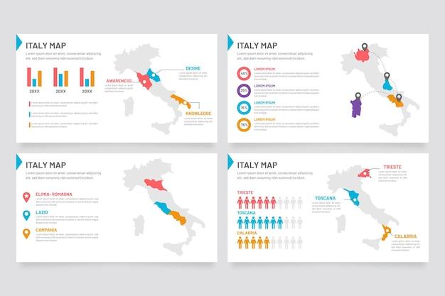 Infografía de mapa de italia en diseño plano