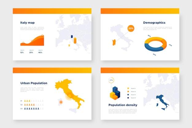 Infografía de mapa de italia isométrica
