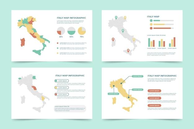 Infografía de mapa de italia plana