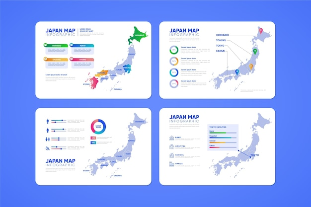 Infografía de mapa de japón degradado