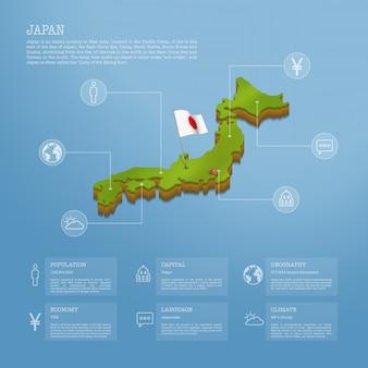 Infografía del mapa de japón