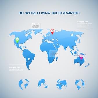 Infografía de mapa mundial con iconos de globo