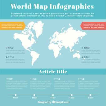 Infografía de mapa del mundo en blanco