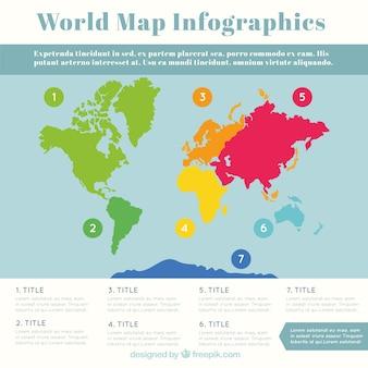 Infografía de mapa del mundo multicolor