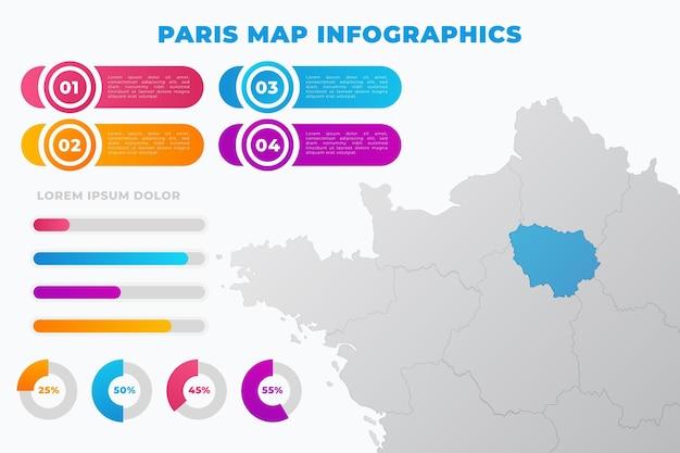 Infografía de mapa de parís degradado