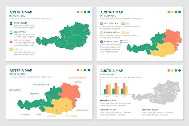 Infografía de mapa plano de austria