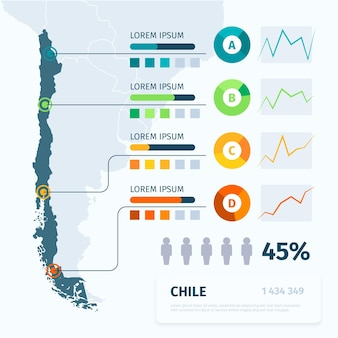 Infografía de mapa plano de chile