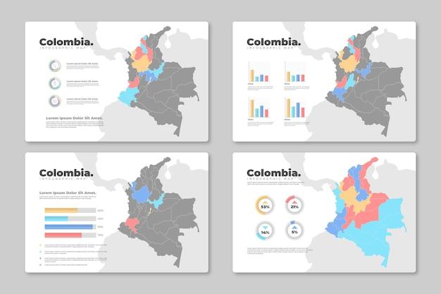 Infografía de mapa plano de colombia