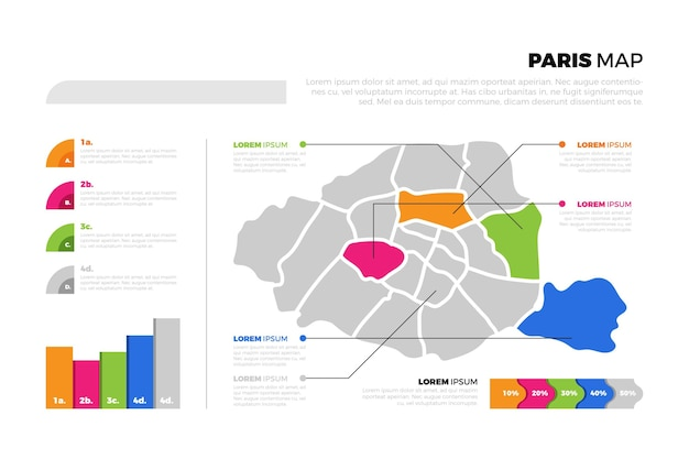 Infografía de mapa plano de parís
