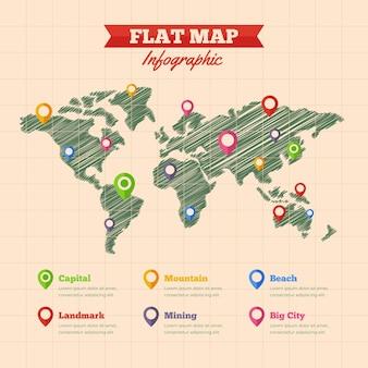 Infografía de mapas de diseño plano