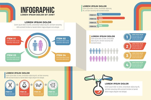 Infografía de marketing con colores retro.