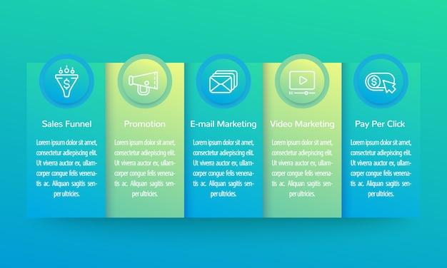 Infografía de marketing digital, diseño de banner con iconos de línea