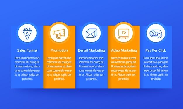 Infografía de marketing digital, diseño de banner con iconos