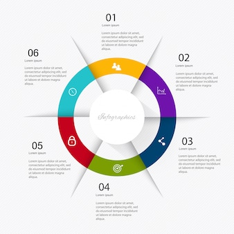 Infografía de marketing empresarial con seis pasos.