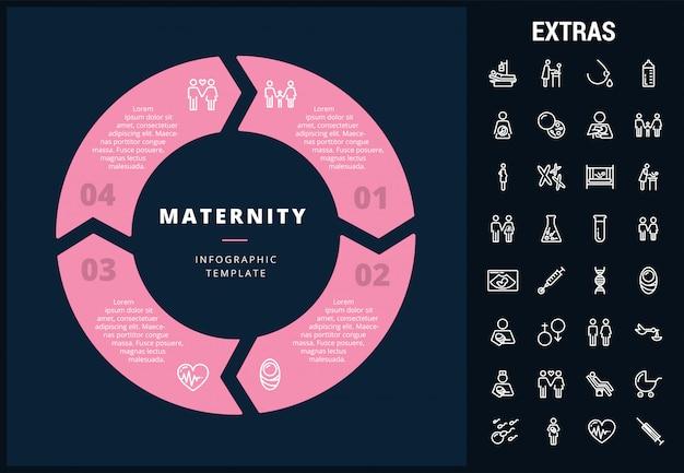 Infografía de maternidad plantilla, elementos e iconos
