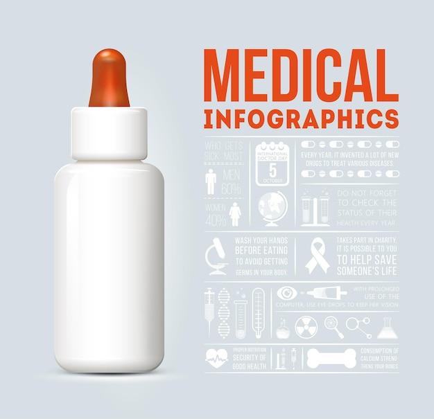 Infografía médica con botella blanca médica