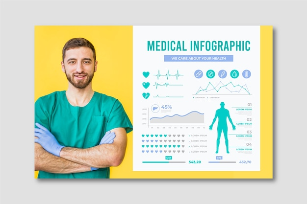 Infografía médica con doctor