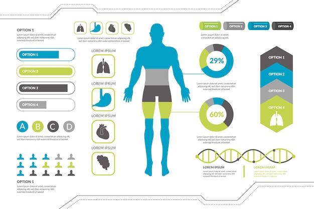 Infografía médica con elementos coloridos.