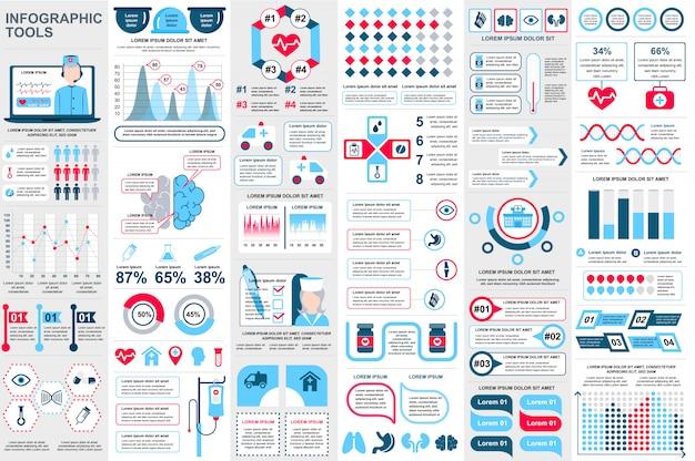 Infografía médica elementos de visualización de datos vector diseño de plantilla